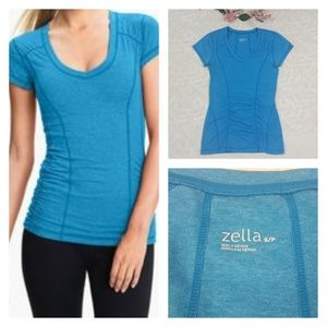 Zella Blue Short Sleeves Workout Top Size S